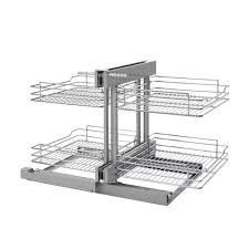organizer for corner kitchen cabinet rev a shelf 5psp 18sc cr 18 inch chrome soft blind corner 4 shelf slide out kitchen cabinet organizer silver