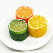 2 20pcs artificial lemon slices lifelike plastic fake fruit home
