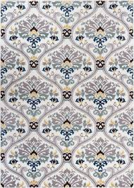 ogee waves geometric lattice floral area rug soft tones grey gold