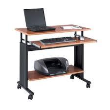 Computer Workstation Desk Luxor Gray Adjustable Height Wheeled Steel Computer Workstation