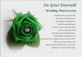 55th wedding anniversary emerald wedding anniversary personalised poem laminated gift
