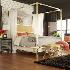 Gold Canopy Bed Buy Upholstered Canopy Bed With Panel Headboard Size