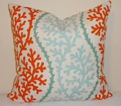 outdoor turquoise coral blue orange pillow cushion covers coral