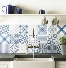 White Blue Kitchen Blue Tiles For Backsplash Mix Match Patchwork Tiles And Kitchens