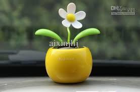 novelty toys car decor flap flip solar powered flower flowerpot