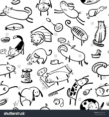 cute doodle seamless pattern with cats and dogs in black and white