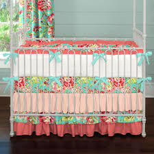 coral and teal floral baby crib bedding carousel designs crib