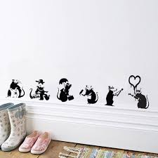 banksy wall sticker banksy rat collection free p p v c banksy wall sticker rat collection vinyl mural decal