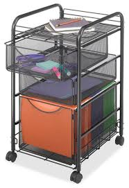 black steel mesh metal mobile filing cabinet with 2 drawers and