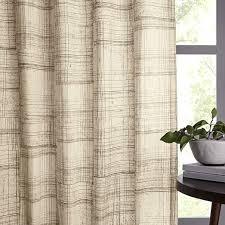 Cotton Canvas Curtains Mid Century Cotton Canvas Etched Grid Curtains Set Of 2 Slate