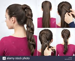braided hairstyle for party tutorial step by step beautiful stock