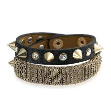 leather bracelet images Secret shades clear cz spike leather bracelet choker stainless steel jpg