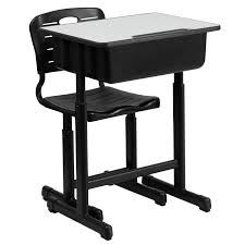 Height Adjustable Desk Frame by Mfo Adjustable Height Student Desk And Chair With Black Pedestal Frame