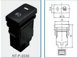 dc12v black pilot lamp 4 wire fog light switch for toyota camry 6