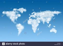 World Cloud Map world map made of white clouds on sky stock photo royalty free