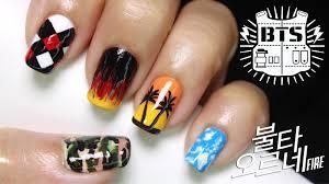 bts inspired nail art fire 불타오르네 k pop nails youtube