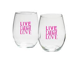 stemless wine glasses wedding favors live laugh 15 oz stemless wine glass set of 4 my