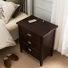night stand with top drawer door and 2 plug electrical outlet and