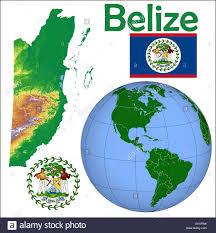 Belize Flag Belize Globe Location Flag Coat Stock Vector Art U0026 Illustration
