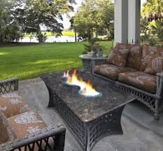 outdoor patio set with fire pit including round dining table