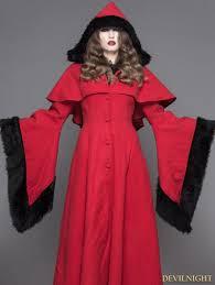 red gothic dovetail hooded cape long coat for women devilnight co uk