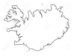iceland outline map with shadow detailed mercator projection