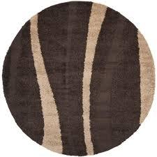 safavieh florida shag dark brown beige 4 ft x 4 ft round area