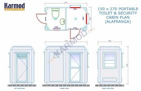 150 x 270 cm security and toilet cabin karmod