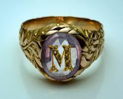 mens monogram ring vintage amethyst monogrammed mens ring antique jewelry vintage