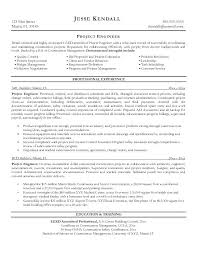 sample resume civil engineer project manager civil construction