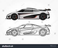 cartoon sports car black and white detailed side flat white racing car stock vector 493483486