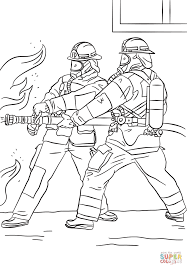 firefighters spraying water coloring page free printable