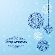 hanging ornament christmas balls on blue background vector clipart