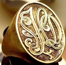 Ring With Initials Signet Ring Monograms Engraving Initials Engraving
