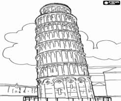 leaning tower pisa italy coloring printable game