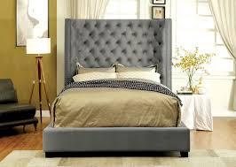 tall headboard beds grey fabric tall headboard bed