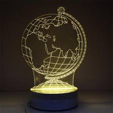 3d globe model night 3 kinds of color temperature change family