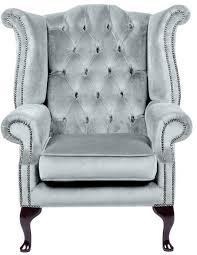 City Queenanne Chair Crushed Velvet Sky Chesterfield Sofa Made In - Chesterfield sofa uk