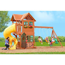 goldenridge deluxe wood swing set playhouse wood swing sets