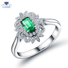 white emerald rings images Luxury 18k white gold emerald ring emerald 4x6mm natural stone jpg