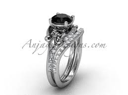 black band engagement rings 14kt white gold diamond fleur de lis wedding band engagement