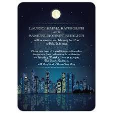 reception invitation starry night city skyline