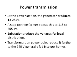 getting the electricity from the plant to the light switch ppt