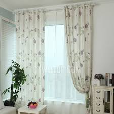simple rustic floral curtain printed with dandelion and butterfly