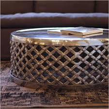 silver drum coffee table metal drum coffee table round polished silver finish canvas
