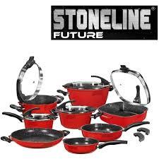 batterie de cuisine en stoneline stoneline set de 13 pièces en futur rubis achat vente