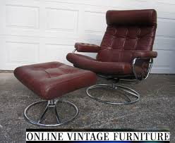 retro chair and ottoman vintage ekornes chair ekornes leather lounge chair ottoman chrome