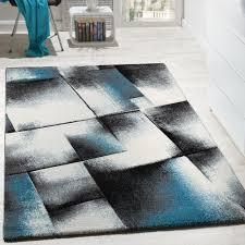 Wohnzimmer T Wohnzimmer Teppich Kurzflor Türkis Grau Design Teppiche
