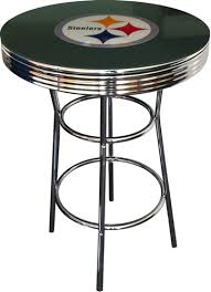 Black Bistro Table Steelers Black Fabric Glass Top Chrome Metal Finish Bistro Pub Bar