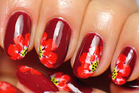 nail art red flowers dark nails youtube